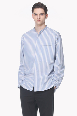 Paneled pocket stand collar shirt