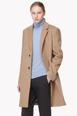 Lambswool blend placket open coat