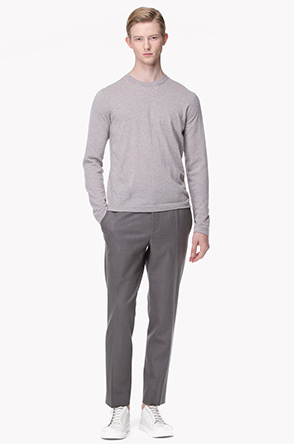 Wool blend banding straight pants