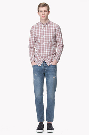 Gingham check cotton shirt