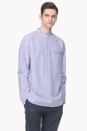 Striped stand collar shirt