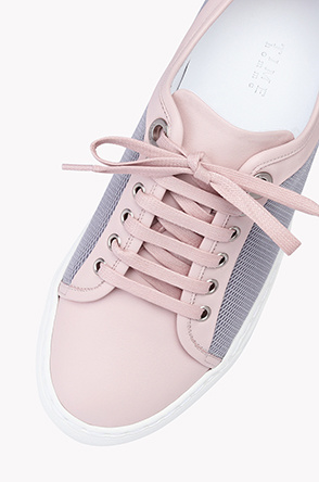 Mesh panel leather sneakers