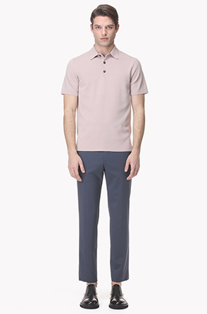 Buttoned knit polo shirt