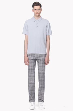 Checked linen blend pants
