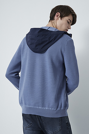 Texture hooded knit jumper