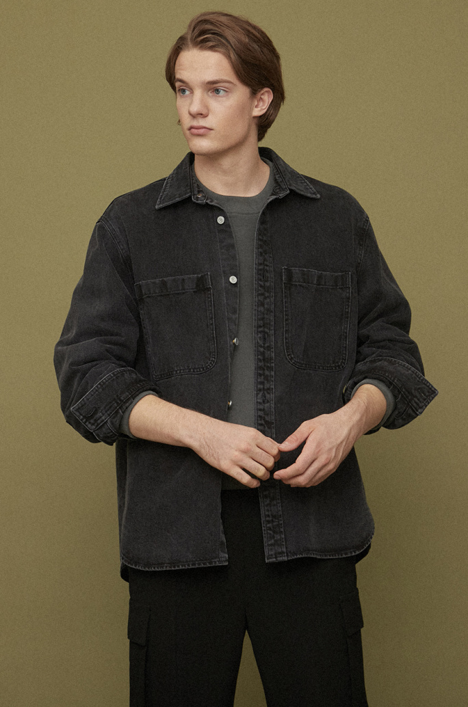 Step hem denim shirt