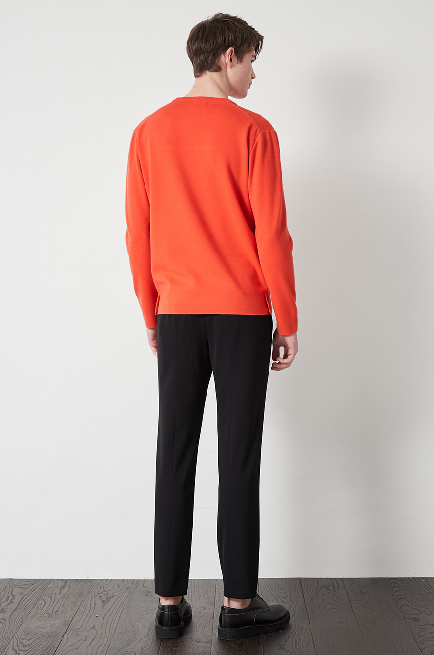 Straight fit back banding pants