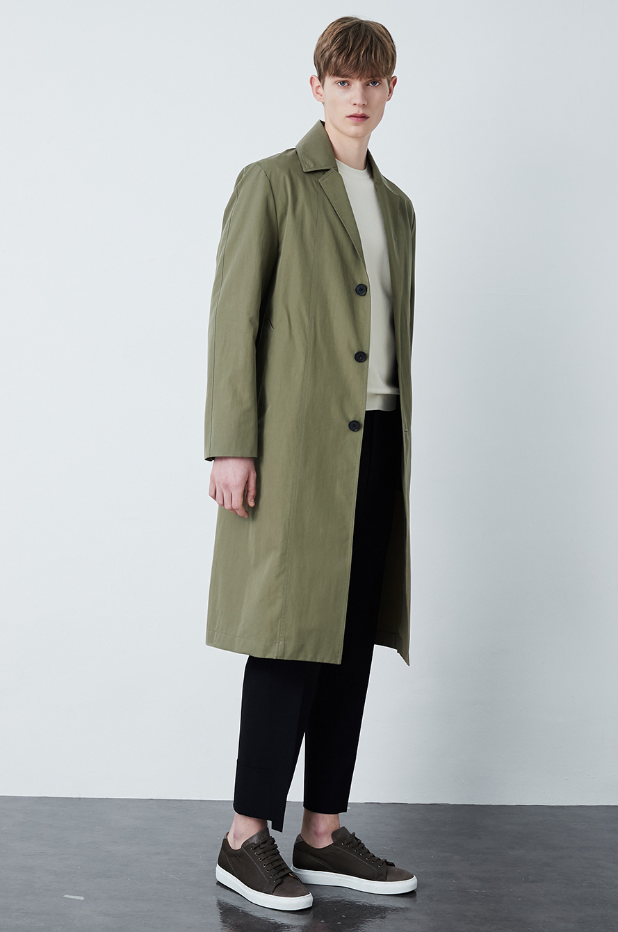 Belted single trench coat