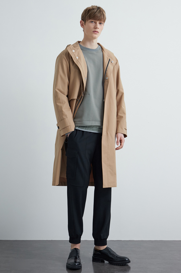 Drawstring hood trench coat