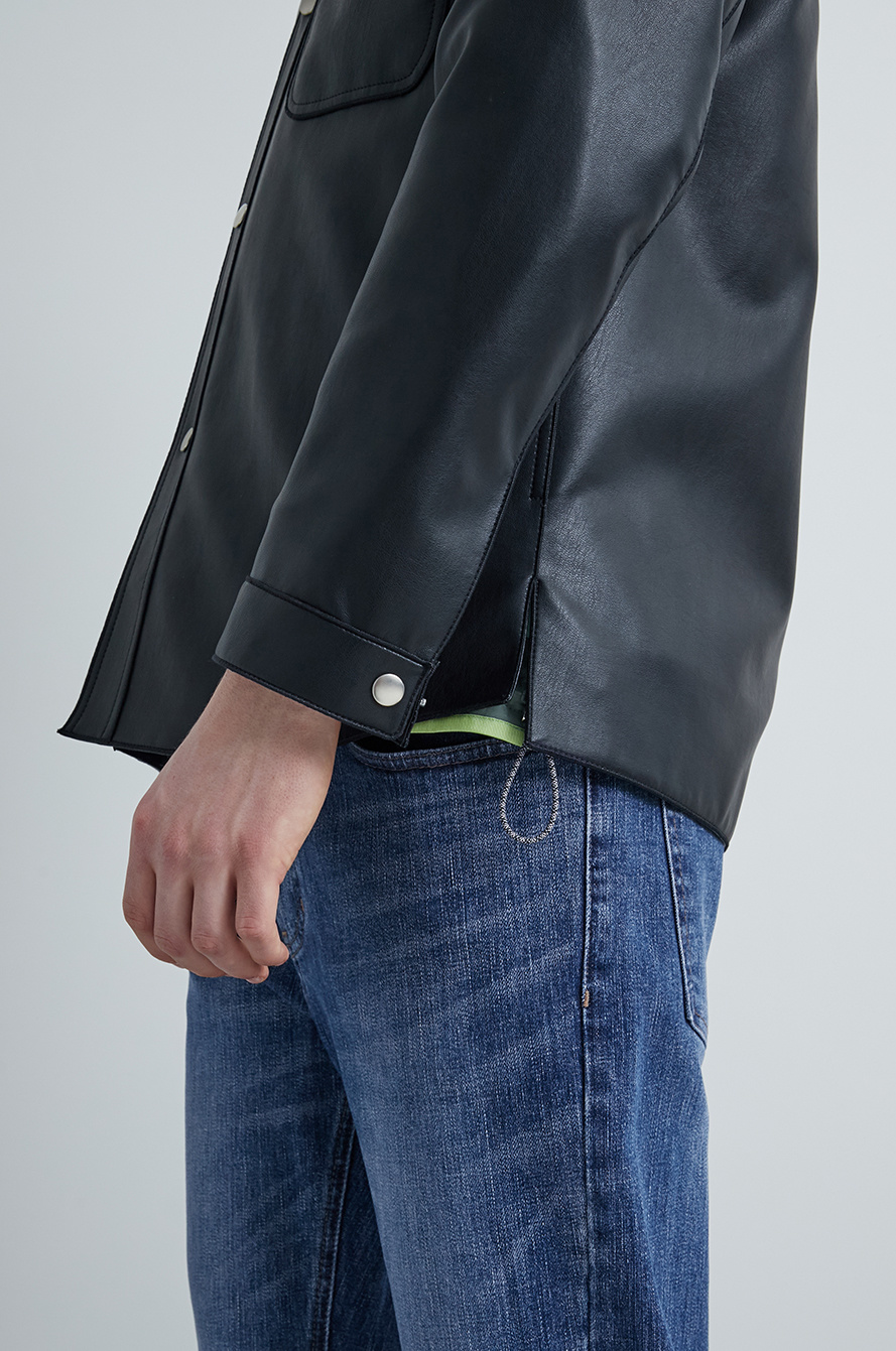 Patch pocket leather jumper