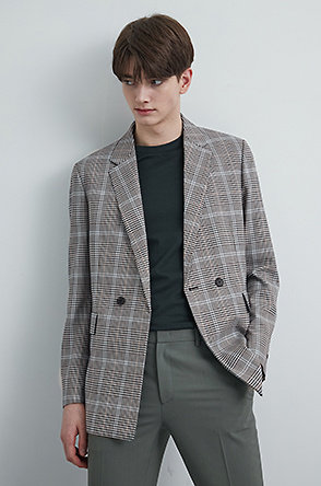 Check wool blend jacket
