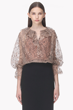 Ruffle neck lace see through blouse