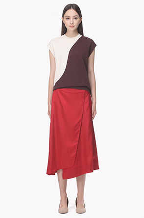 Unbalace hem satin wrap skirt