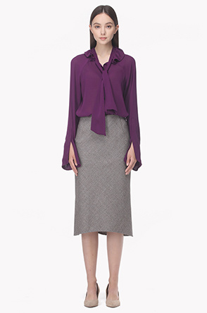 Micro houndtooth wool blend pencil skirt