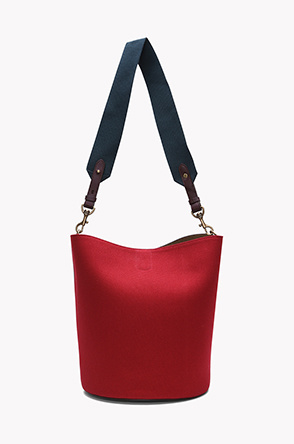 Material color block bucket shoulder bag