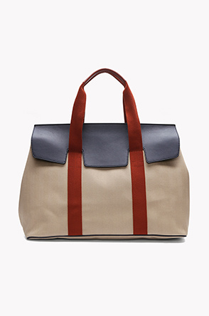 Herringbone canvas large tote bag