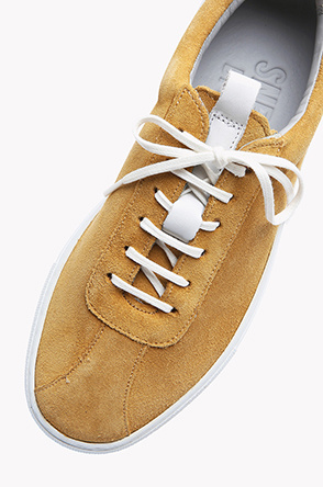 Suede leather line lace up sneakers