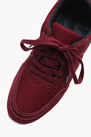 Suede panel light weight sneakers