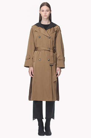 Luster hood trench coat