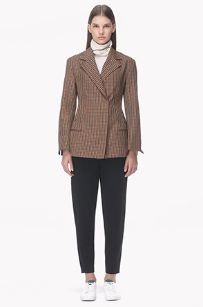 Check pattern slim fit jacket