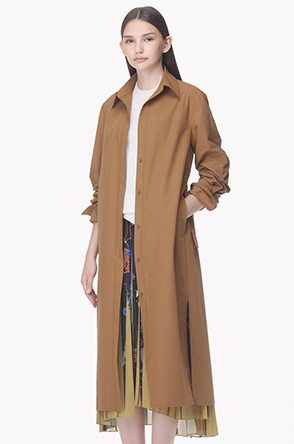 Leather strap long trench coat