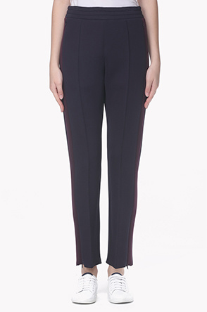 Color line zipper slit neoprene pants