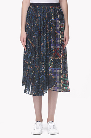 Panel unbalance pleats skirt