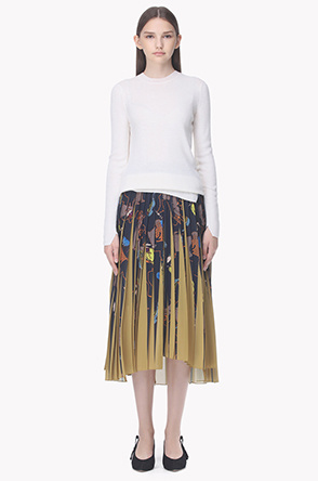 Unbalance detail printing pleats skirt