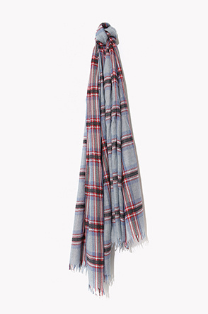 [BEGG & CO] Check pattern fringe silk scarf