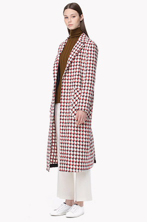 Wool blend check coat