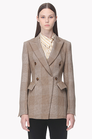 Two tone check peaked lapel wool jacket