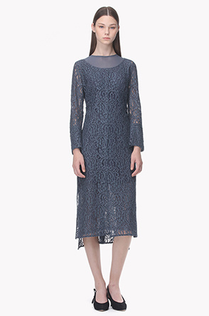 Lace layered placket floral pattern dress