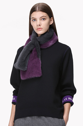 Mink fur two tone muffler