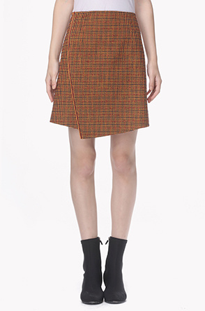 Wool blend shepherd check placket skirt