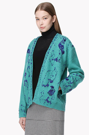 Wool blend constellation knit cardigan