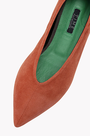 Suede leather point toe flat shoes