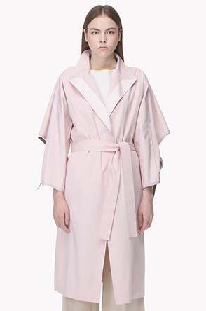 Belted high neck trench coat