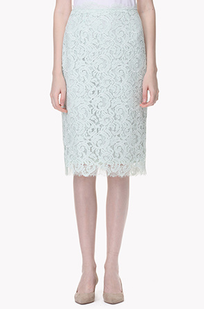 Embroidery lace pencil skirt
