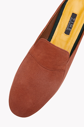 Lamb suede loafer mules