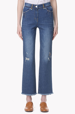 Destroyed washed straight denim jeans