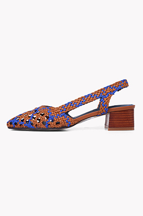 Weaving leather slingback pumps