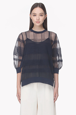 See through mix knit top