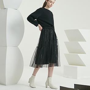 Tulle dress & drape knit top