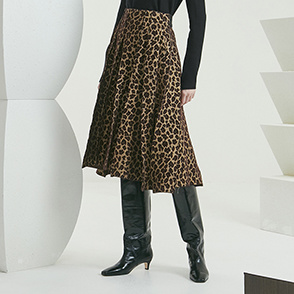 Leopard pleats skirt