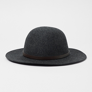Leather grosgrain floppy hat