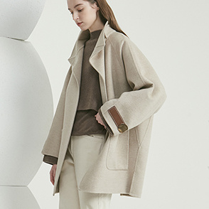 Leather block cashmere coat