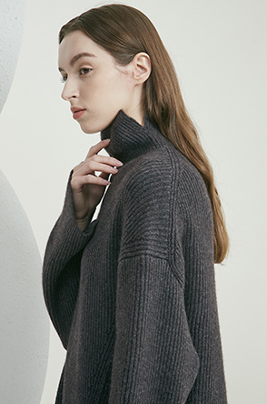 High neck layered knit dress