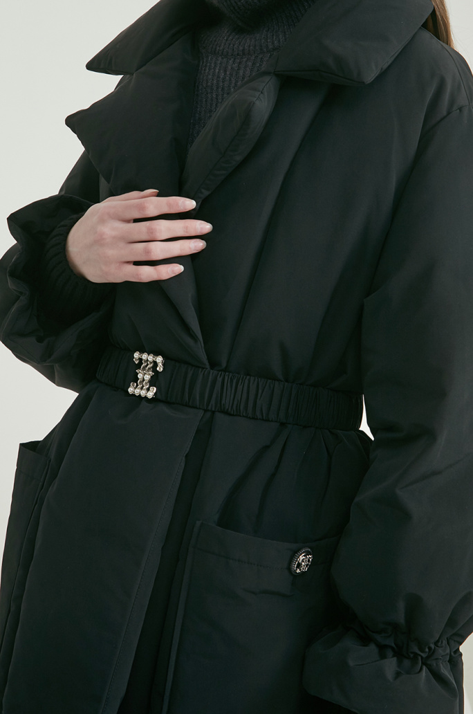 Goose down belted coat