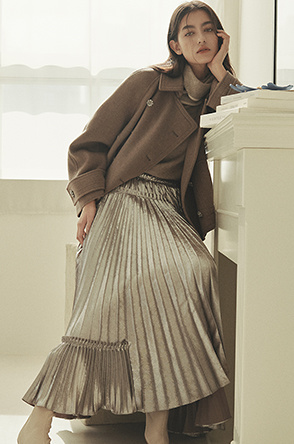 Metallic pleats skirt