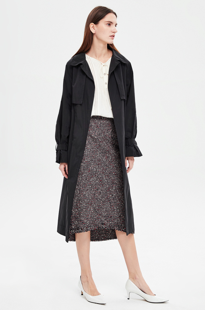 Belted flap trench coat
